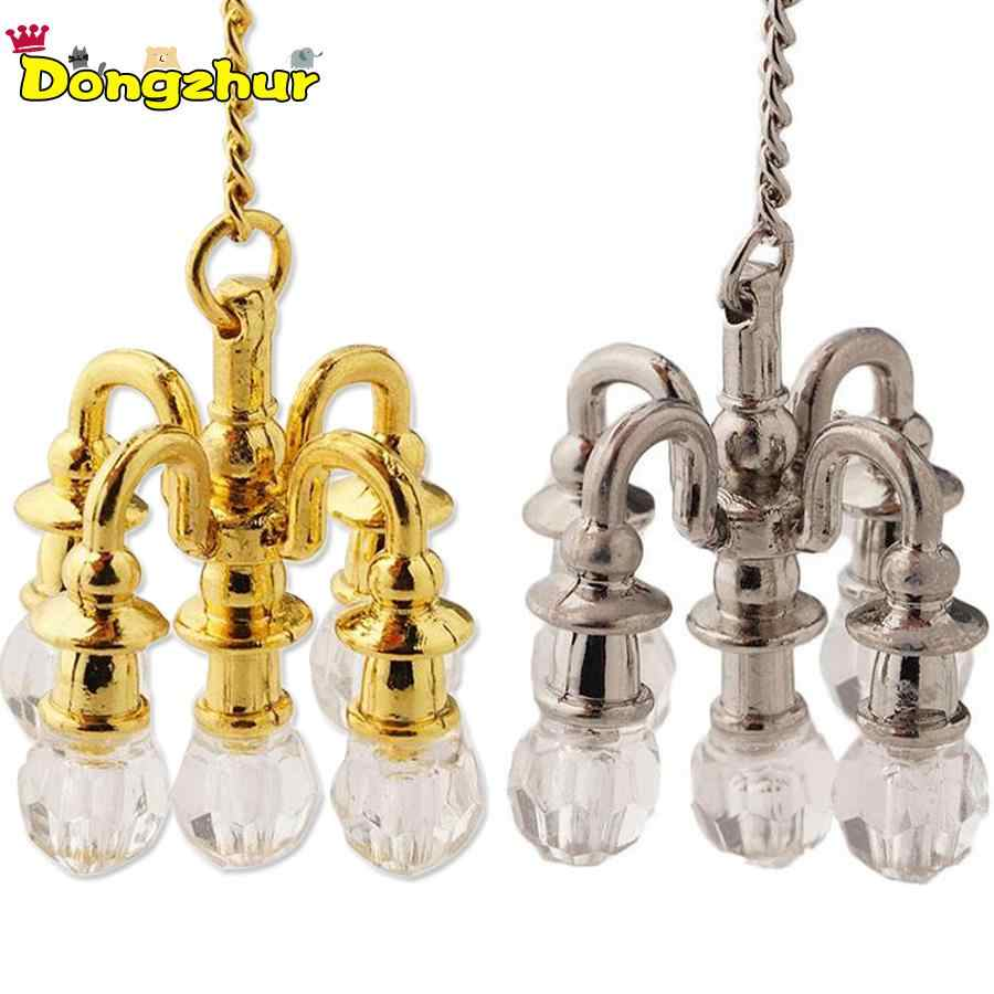 Silver Golden Dollhouse Miniature Furniture 1:12 Doll House Scene Accessories Mini Lamp Chandelier Can Not Light Chandelier New