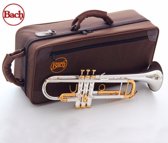Quality Bach Trumpet Original Silver plated GOLD KEY LT180S-72 Flat Bb Professional Trumpet bell Top musical instruments Brass trumpet new bach silver plated body gold key lt190s 85 b flat professional trumpet bell top musical instruments brass