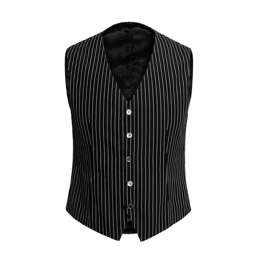 Men's Gangster Vest Costume V Neck Sleeveless Waistcoat Men 2018 Spring New Vertical Striped Suit Vest Slim Fit Wedding Business