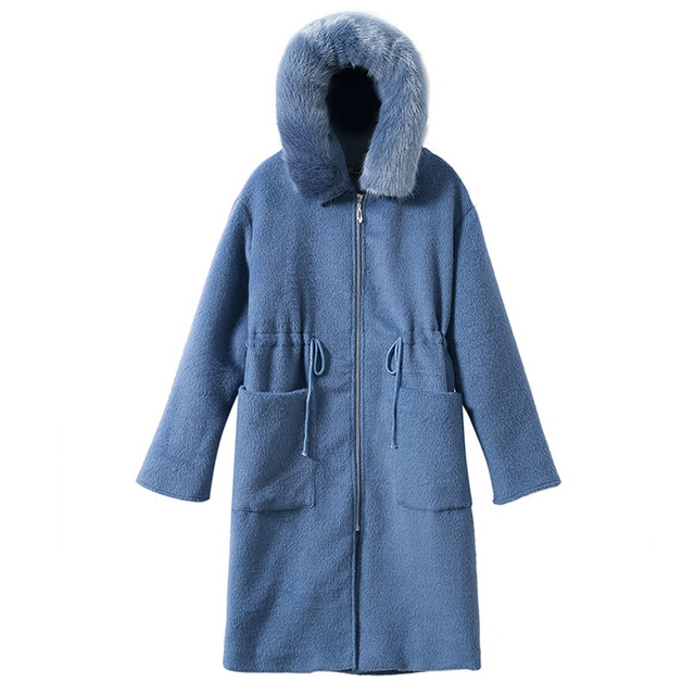NEW Winter Wool Coat Women Fashion Adjustable Waist Long Parka Overcoat Manteau Femme Hooded Fur Collar Woolen Coat Jacket C3823 5