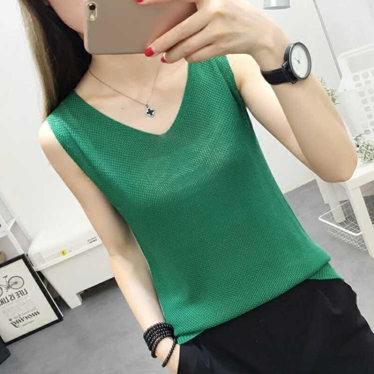 Spring Summer   Tank     Tops   Women Sleeveless Knitted Loose Singlets Camisole Loose T Shirt Ladies Vest Cotton Slim Ladies Thin Vest