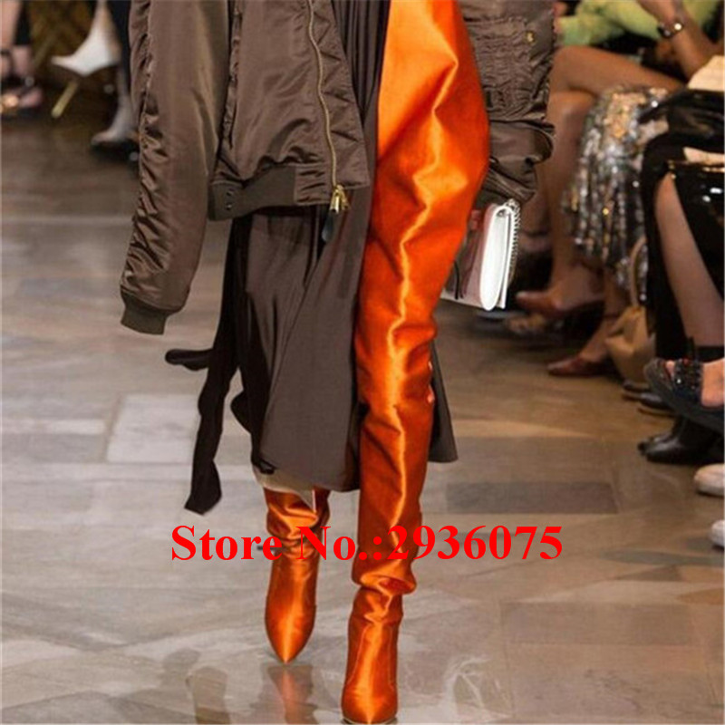 New Sexy Runways Satin Women Long Boots Silk Pointed Toe Stiletto Heels Over The Knee Thigh High Botas Mujer Ladies Shoes Woman new arrival high quality over the knee women boots sexy pointed toe shoes stiletto high heels blue denim jeans women boots