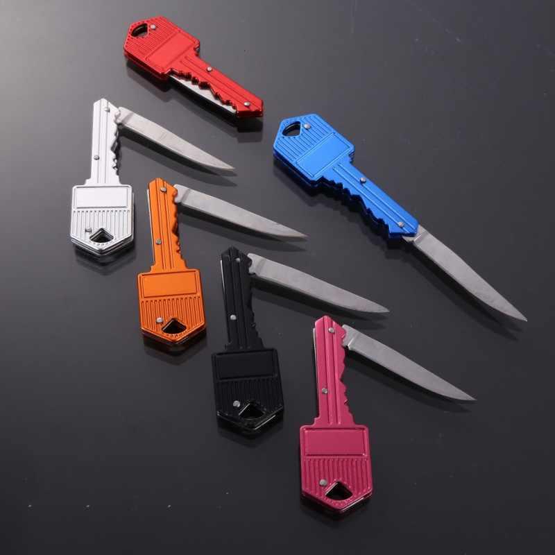 Mini clé couteau lettre Camp extérieur porte-clés anneau porte-clés pli ouvert ouvreur poche paquet survivre gadget Multi outil lame boîte kit
