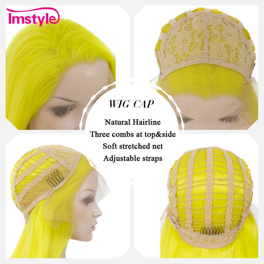 Imstyle, желтый парик, синтетические парики на кружеве, длинные парики с прямыми волосами для женщин, 24 дюйма, термостойкий парик для косплея