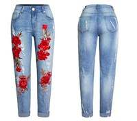 Summer Red Rose Jeans For Women High Elastic Ripped Jeans Boyfriend Denim Embroidered Pants