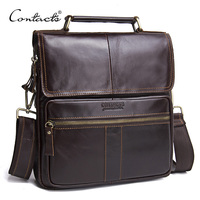 CONTACT'S Casual Genuine Leather Men Messenger Bags With Zipper Pocket High Quality Shoulder Bag For Male Soft Crossbody Bags