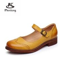 Yinzo zapatos planos vintage de piel de oveja auténtica para mujer, calzado oxford hecho a mano, para verano, azul, amarillo, rojo, 2020