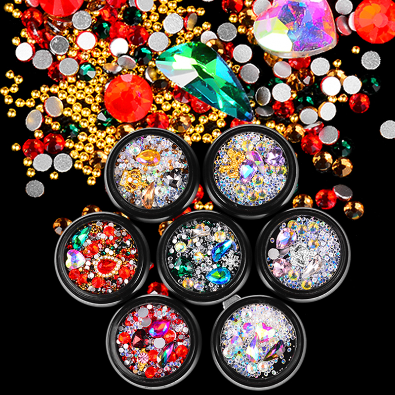 Mixed Colorful Acrylic Nail Art Decorations Alloy Metal Frame DIY Nails Design Manicure 3D Nail Art Decoration in Rhinestones Decorations from Beauty Health