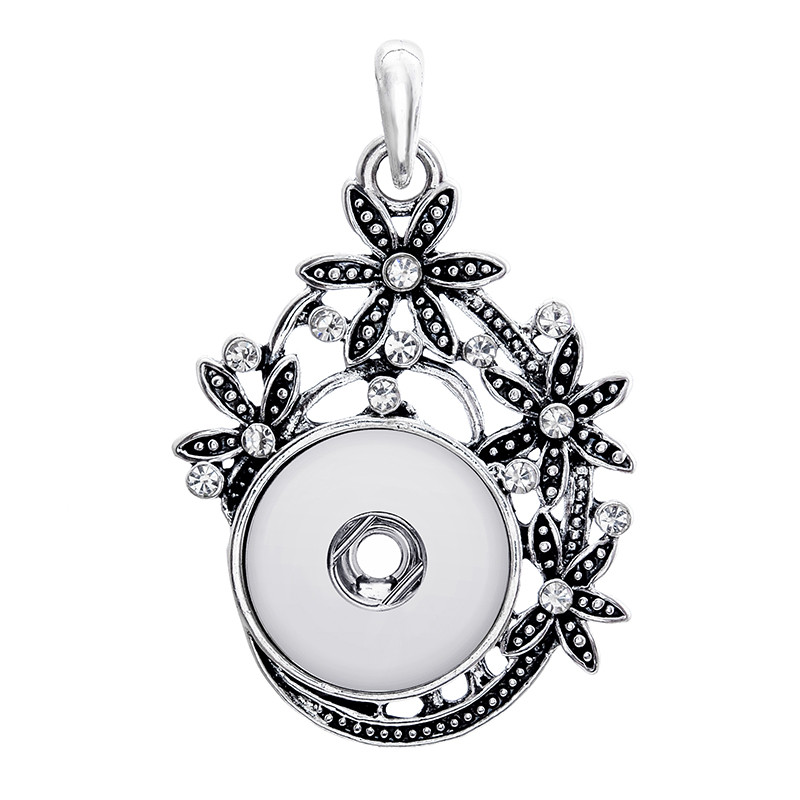 18mm metal xinnver snap button jewelry crystal pendant necklace for women mens Vintage accessories