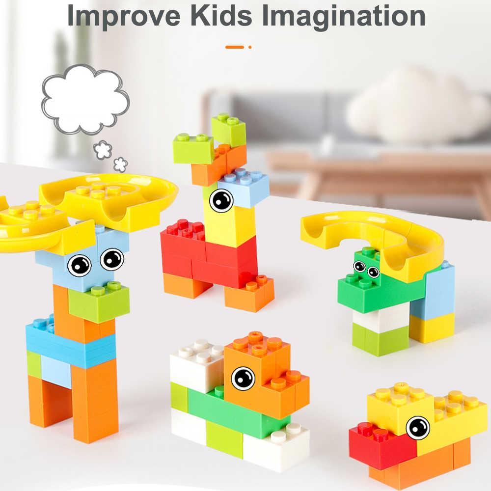 165-330 pcs DIY Blocos de Construção de Mármore Corrida Corrida Pista Bola Labirinto Brinquedos para Crianças de Construção de Modelagem Marca Compatível blocos