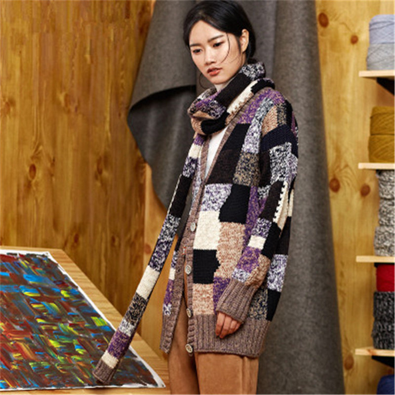 100% Hand Made Pure Wool Vneck Knit Women Irregular Contrast Color Plaid Loose Cardigan Sweater One&over Size