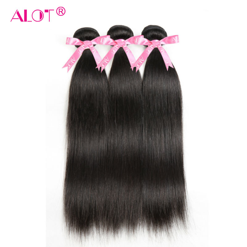 ALOT 3 Bundles Deal Peruvian Straight Hair Non Remy Hair Weaving Double Weft Natural Color 100