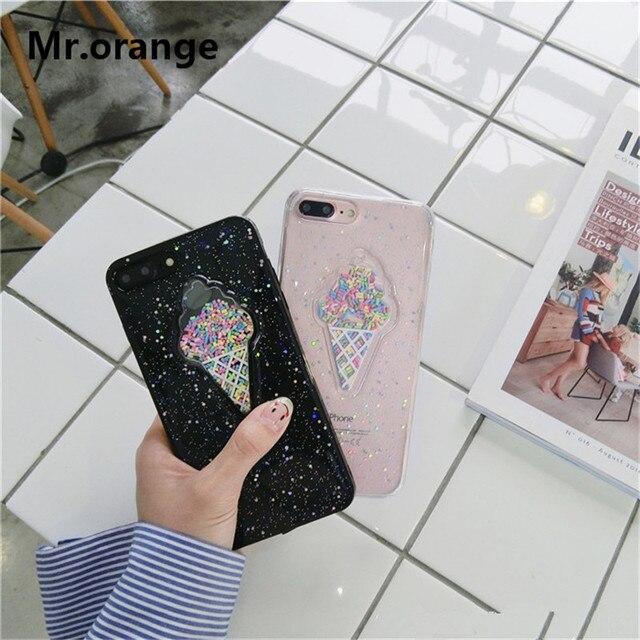 Mr.orange 2017 Luxury Clear Transparent Ice Cream Phone Case For iPhone 7 7 plus 6 6s Plus Cute TPU Soft Cover For girls Fundas