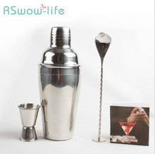 Stainless Steel Cocktail Set Bar Bartending Tool 3 Piece Shaker For
