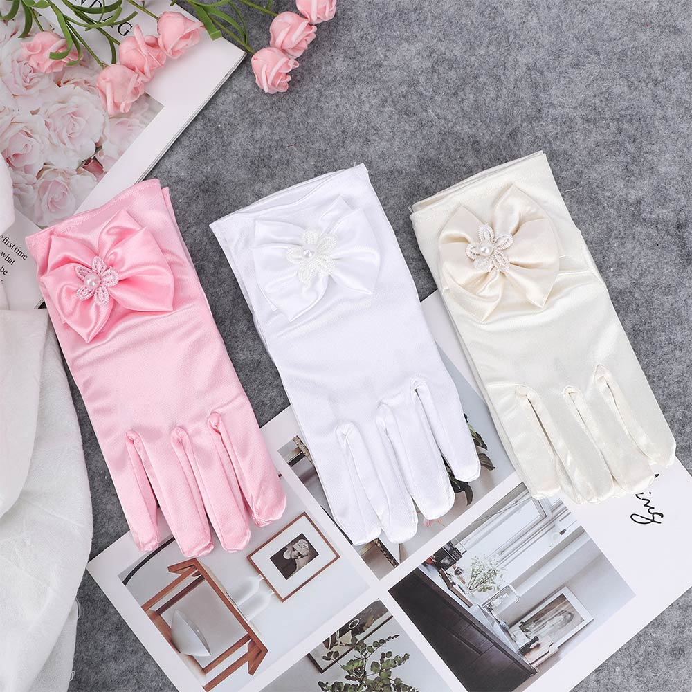 1 Pair Lovely Elastic Girl Etiquette Performance Gloves Satin Pearl Flower Lace Bow Gloves Short Children Princess Dance Gloves