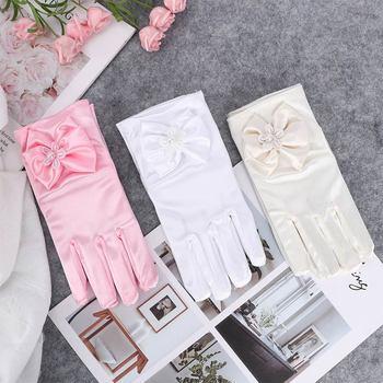 1 pair Lovely Elastic Girl Etiquette Performance Gloves Satin Pearl Flower Lace Bow Gloves Short Children Princess Dance Gloves