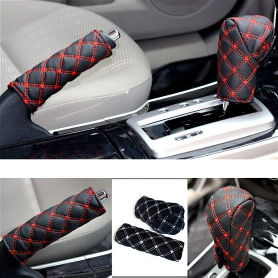 2PCS/Lot Hand Brake Case Gear shift Car Set Interior ...
