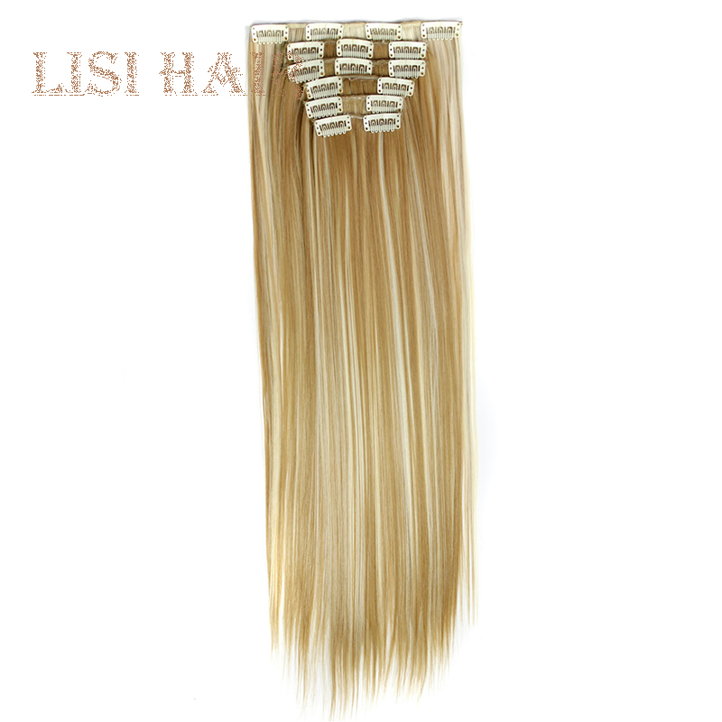 LISI HAIR 16 Clip In Hair Extensions Synthetic 24 Inch Straight Hair Clips For Women Pure Color 140g High Temperature Fiber