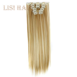 16 Clip-In Hair-Clips Hair-Extensions Lisi-Hair Synthetic Straight Pure-Color Women