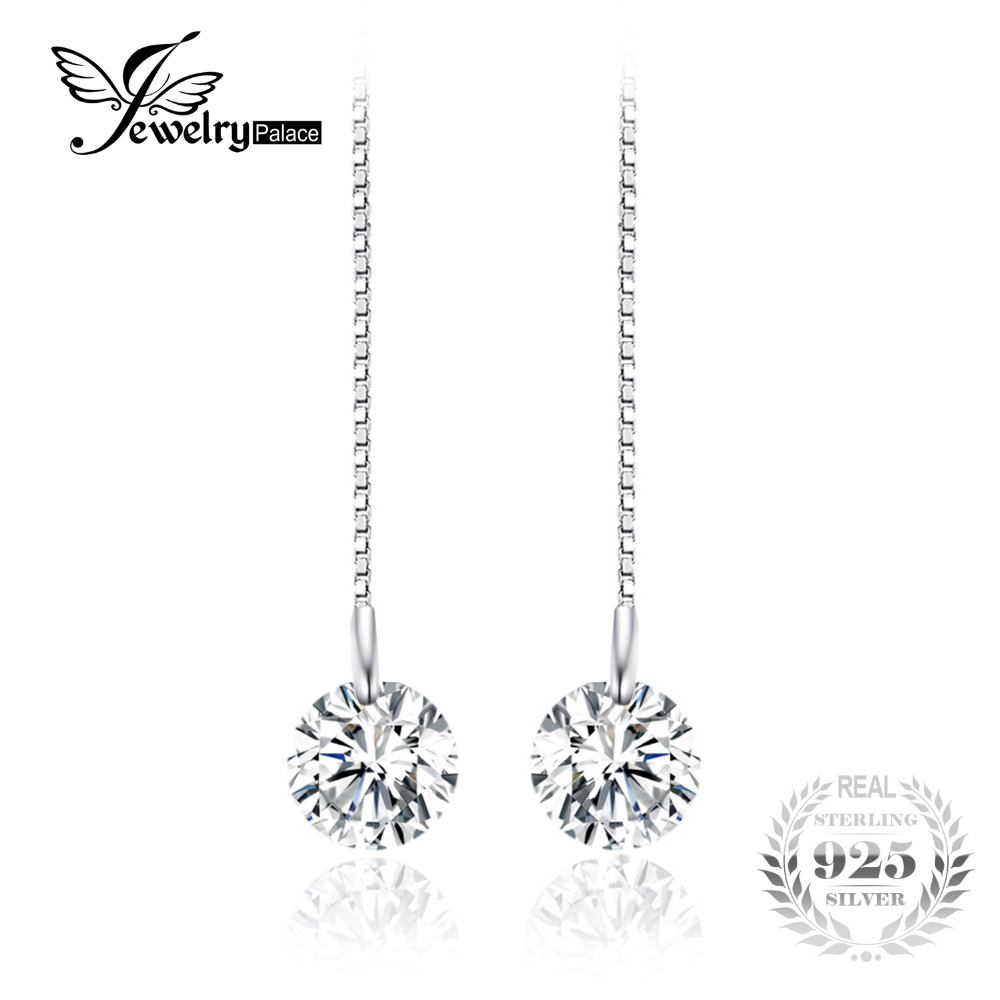 JewelryPalace 5.2ct Round Cut Earrings Real 925 Sterling Silver Fashion Long Earrings Nice Engagement Gift For Girl/Women/Wife stylish silver plated cut out rhinestone heart earrings for women