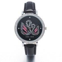 Miss Keke Argila 3d Bonito Mini Mundo Black Swan Rhinestone Relógios Relogio feminino Mulheres Senhoras de Quartzo de Couro Relógios De Pulso 1361