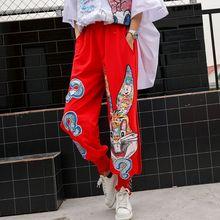 Европейский бренд tide, летние свободные широкие штаны с мультяшными пайетками, женские брюки с эластичным поясом и разрезами