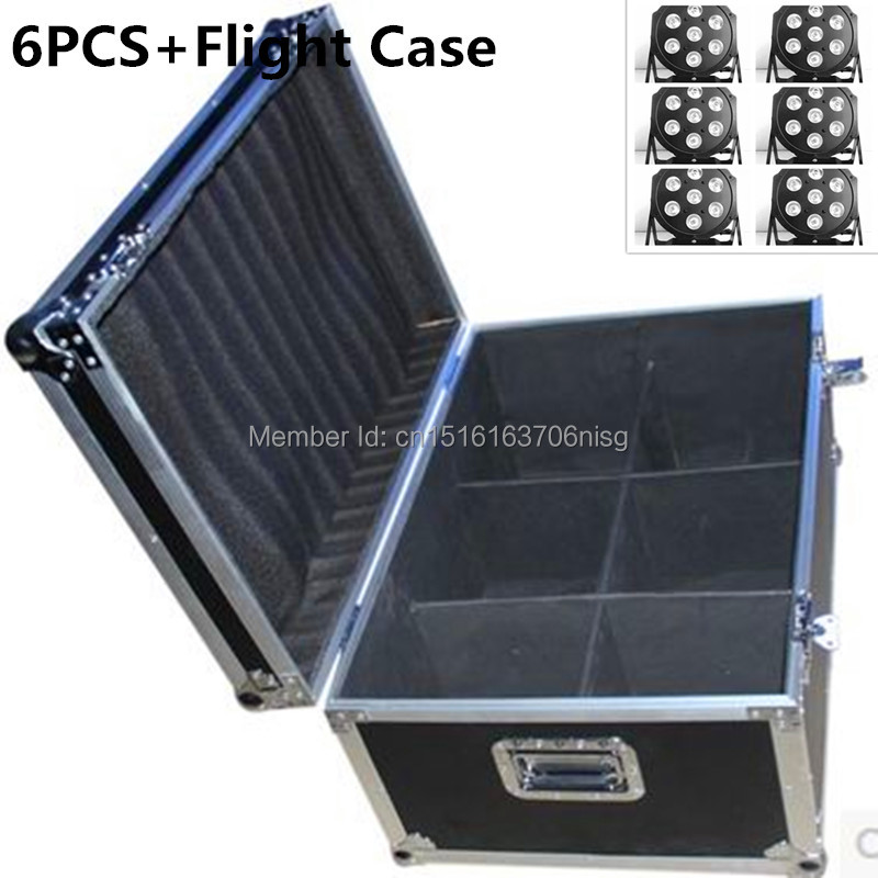 6pcs/lot with flight case 7X12W RGBW DMX Stage Lights  Led Flat Par High Power Light with Professional for Party KTV Disco DJ EU 6 pcs lot led par 18x12w rgbw light dmx stage lights business lights professional flat par can for party ktv disco dj ligthing