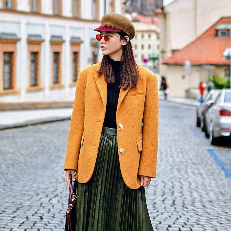 Due Femminile Outwear Blazer Colore Di Primavera Lana Dropship Yellow Modo Giallo Giacca Cappotto 2019 Sportiva Pulsanti Wq1107 Marca xSq67Pqwn0