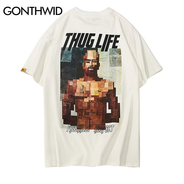 GONTHWID Thug Life Printed Short Sleeve T Shirts Streetwear 2018 Summer Casual Coton Tops Tees Men's Fashion O-Neck Tshirts