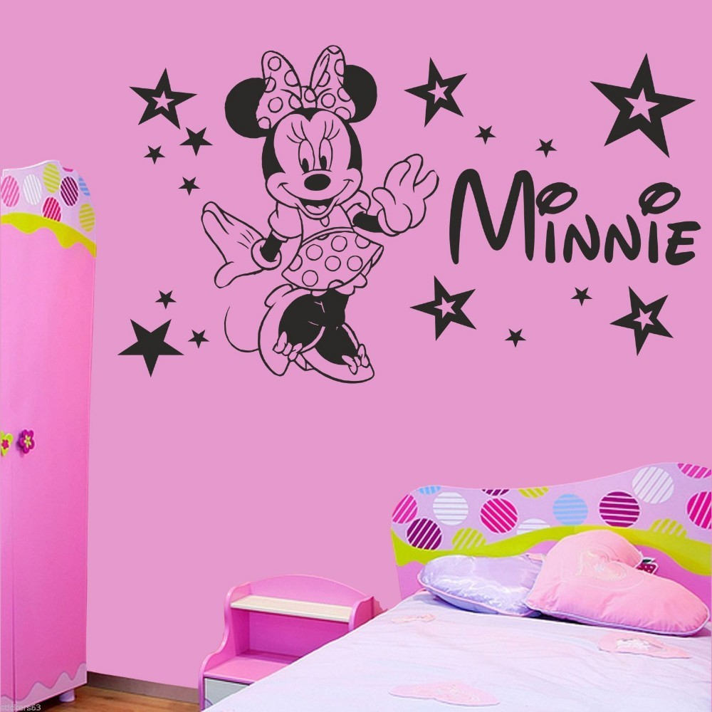 Minnie mouse wall decor roselawnlutheran custom name girls minnie mouse wall decal nursery kids name bedroom cartoon wall decor sticker art amipublicfo Image collections