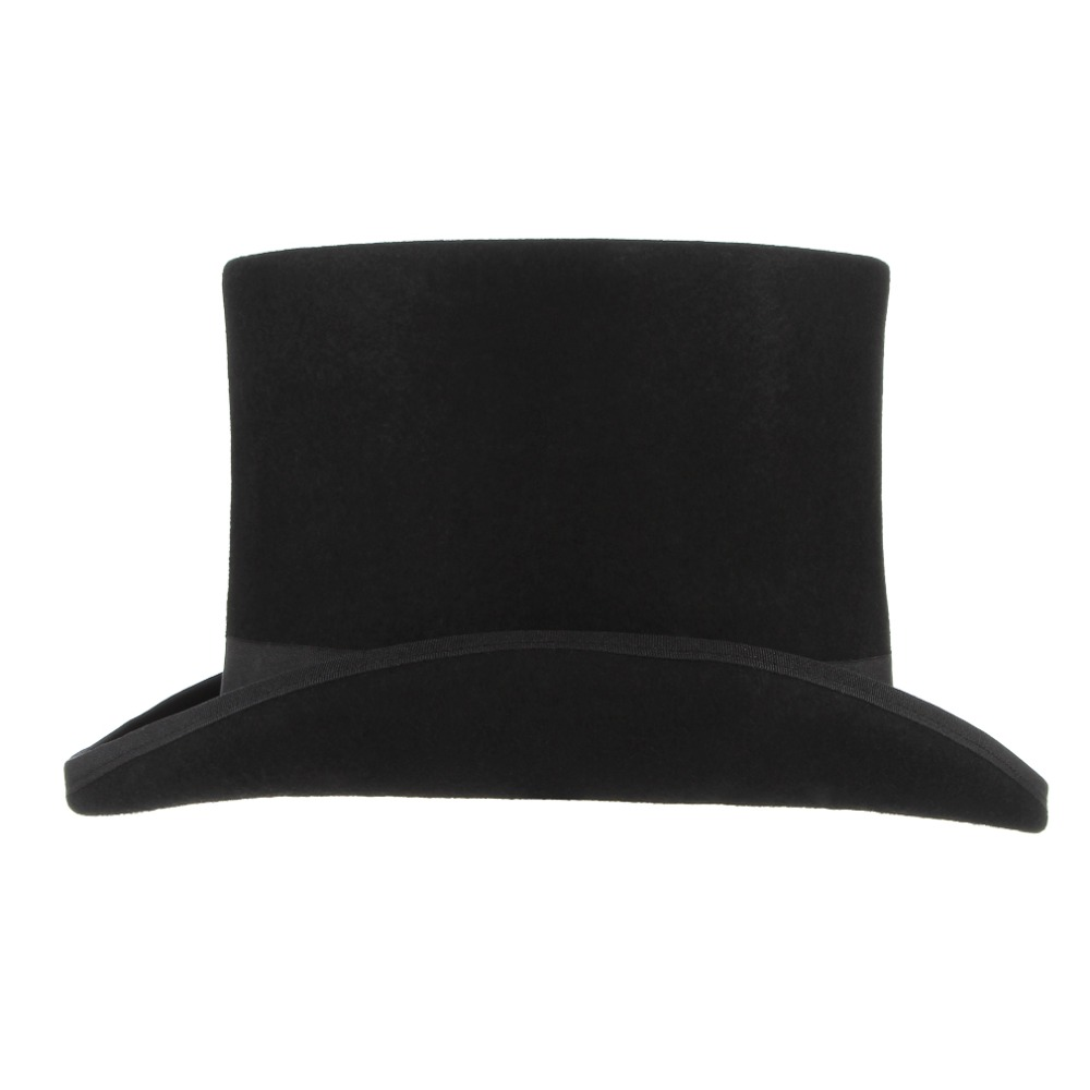 4fbb3344e0a4c (17cm) Vintage Top Hat for Men Wool Fedoras for Women Mad Hatter Hats Flat  Top President Hat Party Steampunk Magician Cap-in Fedoras from Apparel ...