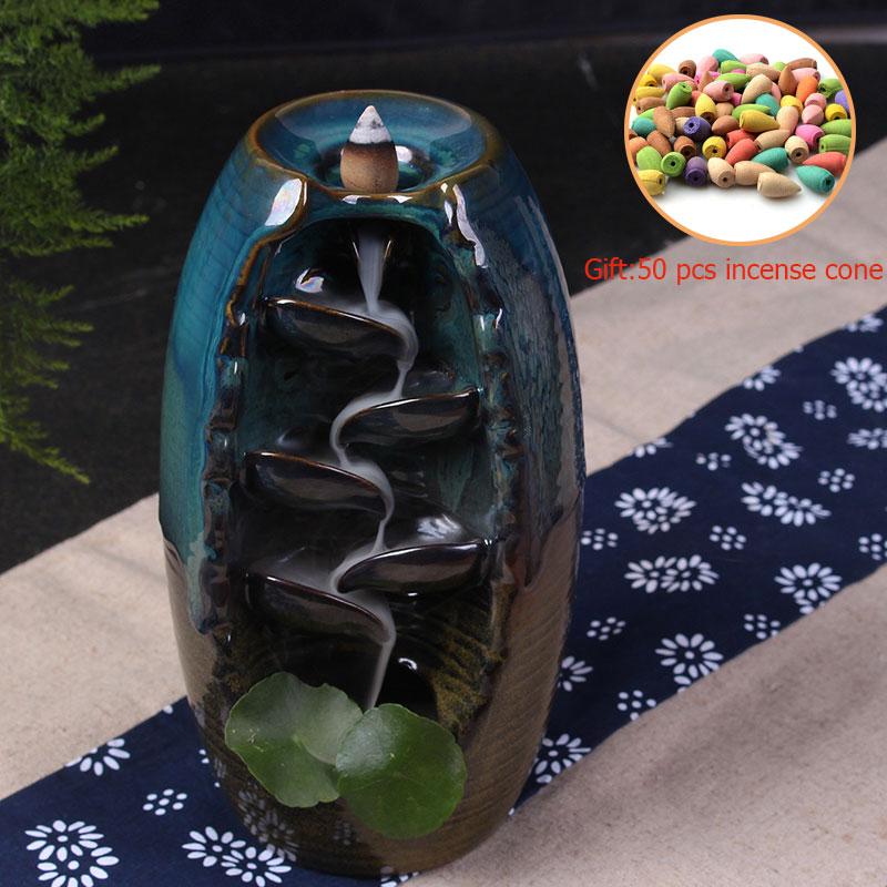 Цветная глазурь Gaoshanliushui ладана горелка с Буддой обратного потока ладан горелка стеклянная крышка Крытая + 50 шт ладан конус S