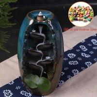 Color Glaze Gaoshanliushui Incense Burner Buddha Backflow Incense Burner Glass Cover Indoor +50pcs Incense Cone S