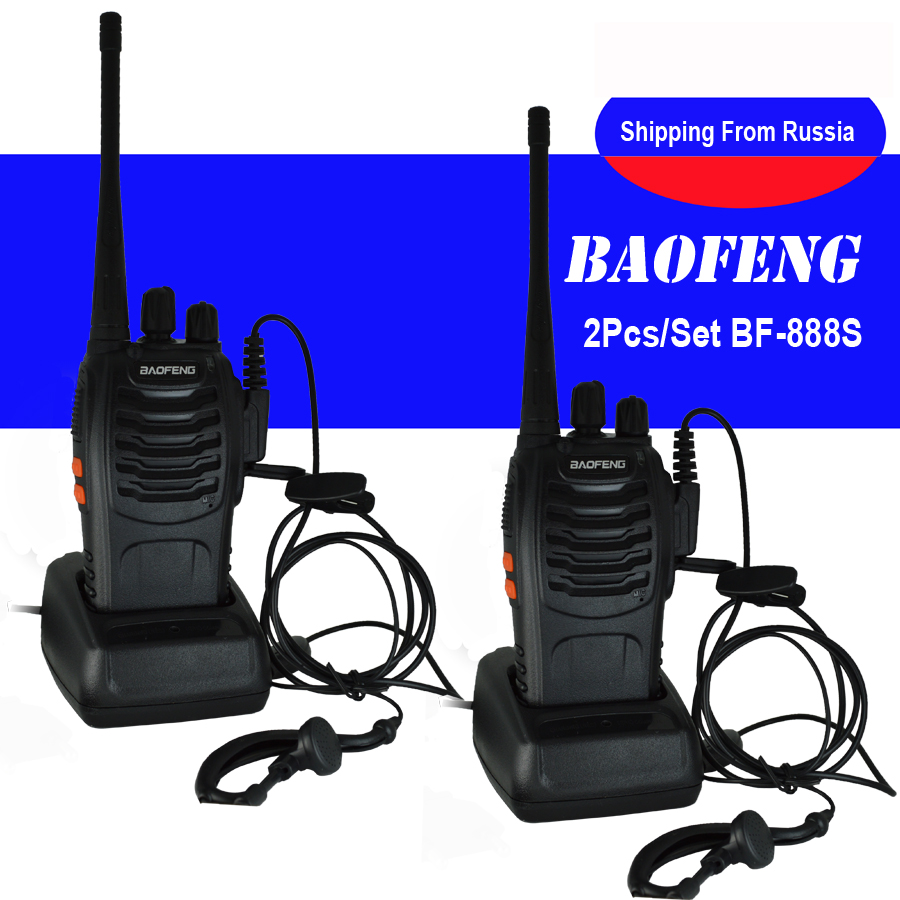 2Pcs/set baofeng BF-888S Walkie Talkie Portable Radio BF888s 5W 16CH UHF 400-470MHz BF 888S Comunicador Transmitter Transceiver