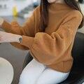 Novos inverno moda feminina outono cor sólida gola alta Lanterna Manga longa feminina suéter solto engrosse malha pulôver tops