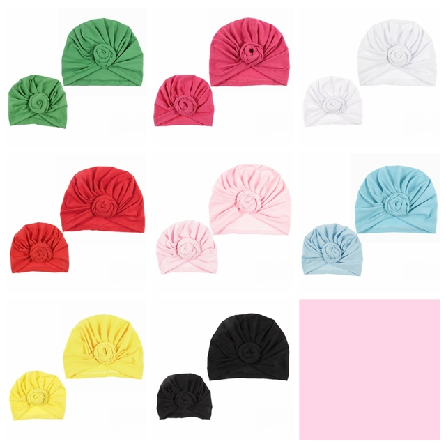 NISHINE New Mommy And Me Cotton Blend Rose Flower Hat Women Caps Girls Newborn Turban Hats Twist Knot Headwear Hair Accessories