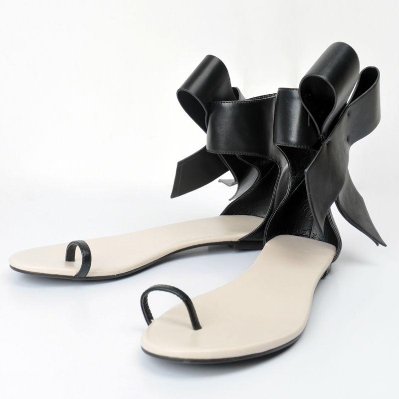 D'été Flops Chaussures Talon Sandale Adulte Couverture Pu Bowknot Plat Talons Sandales Confortables Noir Flip Pour Femmes pTzqR