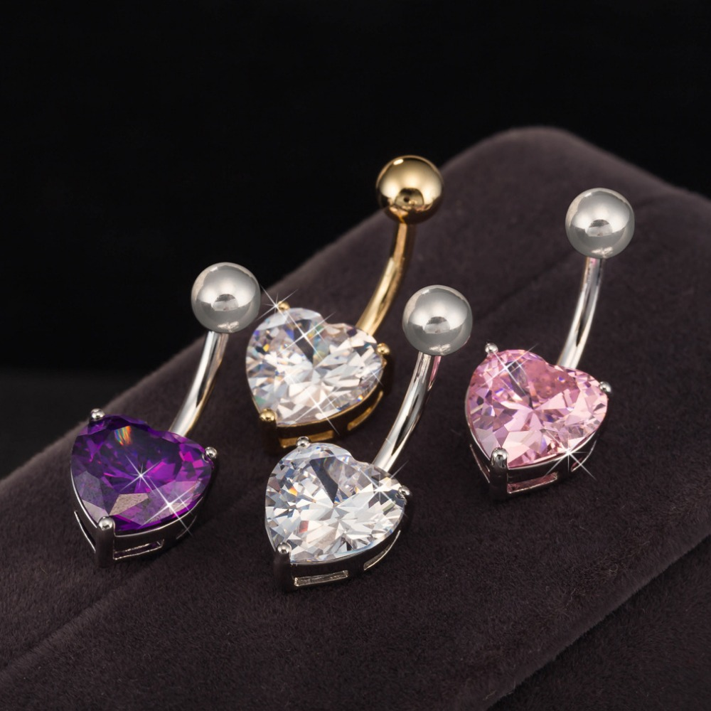2015 HOT Jewelry -Elegant Rhinestone bling heart navel Stud bell button rings belly ring Surgical Steel Body Piercing nightclub