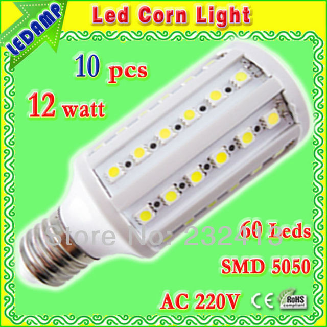 ac 220v degree 360 led light e27 12w _ 60 leds 5050 smd 12 watt led corn bulb lamp warm / white free shipping 10 pcs/lot