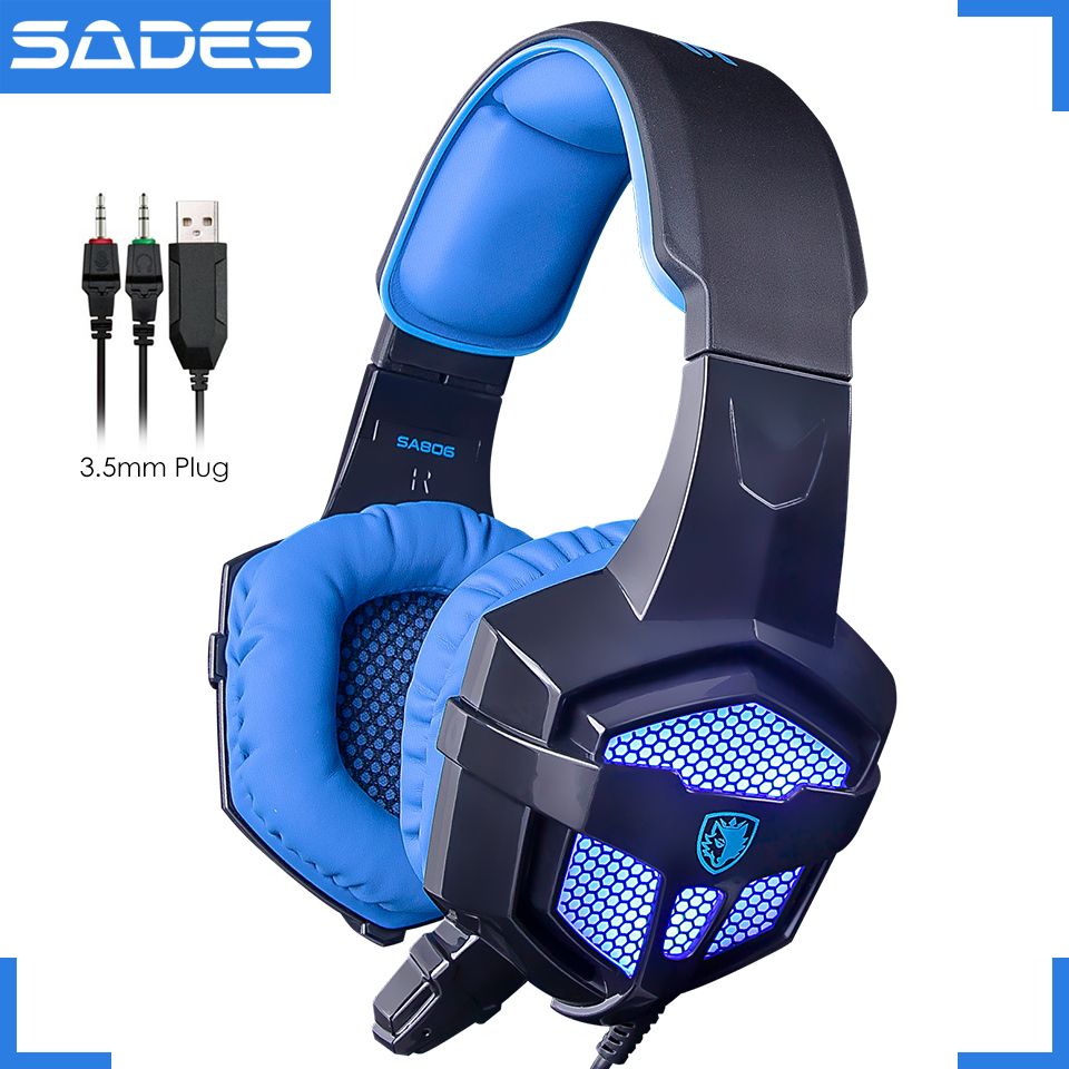 Original SADES SA-806 Big Stereo Gaming Headset Luminous Game Headphones With Microphone For Computer Laptop lucky john croco spoon big game mission 24гр 004