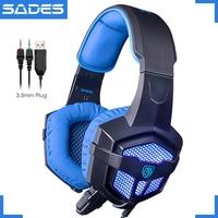 Original SADES SA-806 Big Stereo Gaming Headset Luminous Game Headphones With Microphone For Computer Laptop