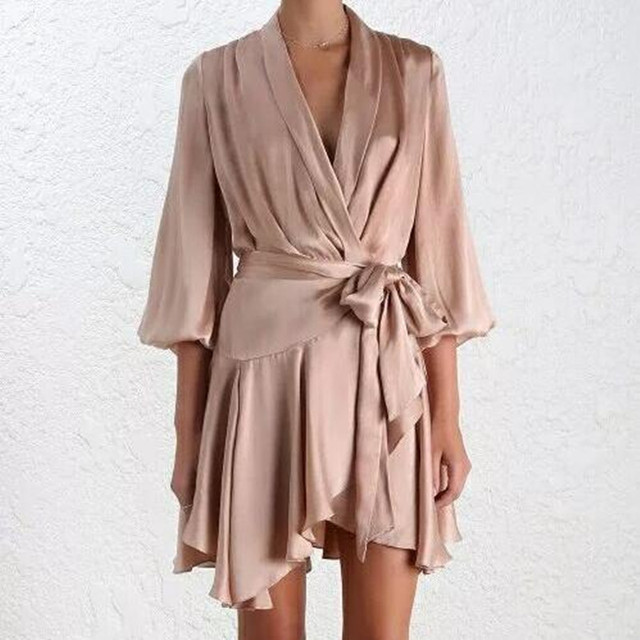 Silk Wrap Mini Robe Dress Women Ruffle Long Lantern Sleeve Deep V Neck Satin Irregular Femme
