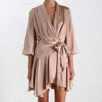 Silk Wrap Mini Robe Dress Women Ruffle Long Lantern Sleeve Deep V Neck Satin Irregular Femme Solid Pink Vintage Dreese Spring