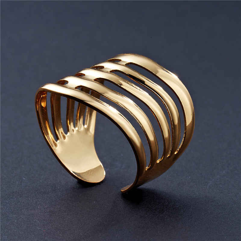 2019 New Fashion Gold Geometric Arched Stripes Hollowed Out Opening Ring  For Women Punk Alloy Finger Rings Simple Boho Jewelry