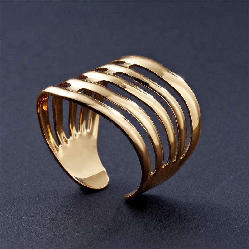 Женское Открытое кольцо в полоску с золотыми геометрическими арками, простое кольцо в стиле бохо, 2019