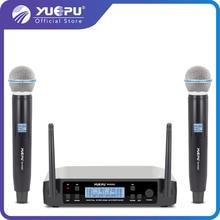 YUEPU RU-D220 UHF портативный караоке-микрофон Беспроводной Профессиональный Системы 2 канала частота Регулируемая Беспроводная для церкви