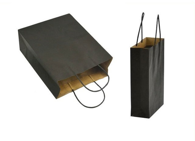 200pcs 22x15x6cm Whole Black Gift Bags With Handles Small Paper Ping