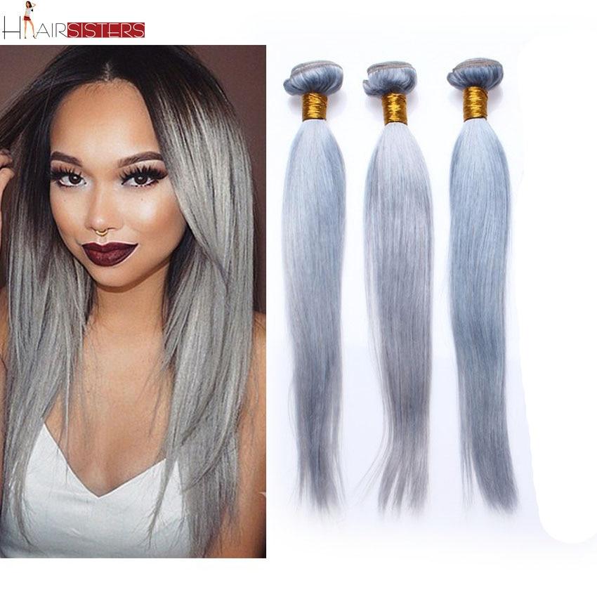 7a Grade Malaysian Straight Hair Granny Grey Color Malaysian Virgin