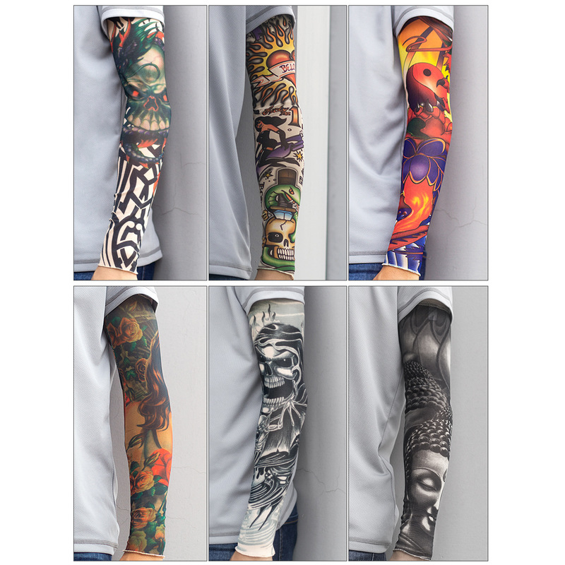 Simulation Tattoo Sleeve (seamed), Removable Arm Warmers Outdoor Sport Sleeve Length 48CM
