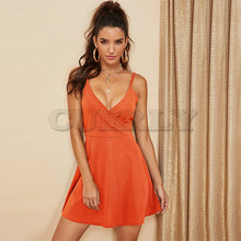 CUERLY Orange Solid Surplice Wrap Cami Flowy Sexy Dress Women 2019 Spring Fashion Sleeveless A Line Club Party Short Dress цены
